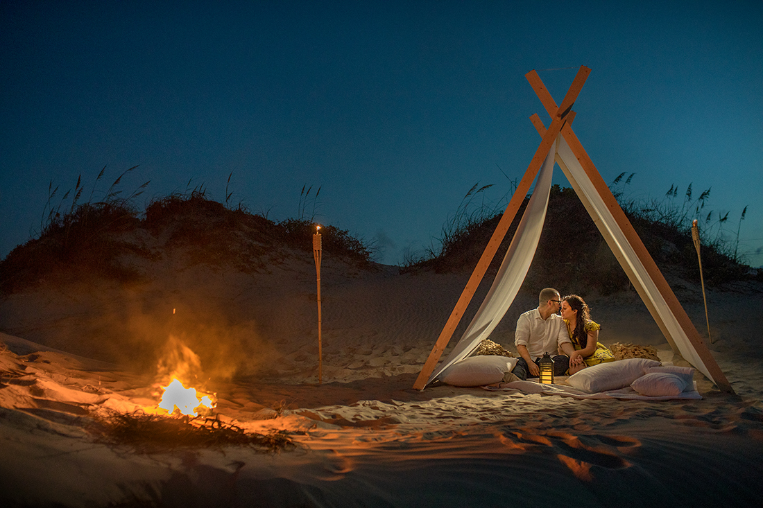 Romantic tent engagement session at South Padre Island